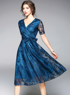 Blue Embroidery V-neck A-line Dress