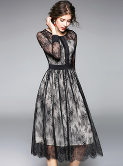 Black Lace Perspective High Waist Skater Dress