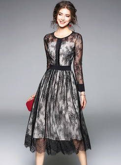 Black Lace Transparent Long Sleeve Skater Dress