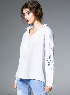 White V-neck Embroidery Loose Blouse