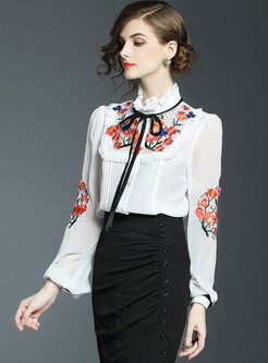 Mock Neck Embroidered Puff Sleeve Blouse