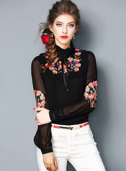 Stylish Flower Embroidery Puff Sleeve Blouse
