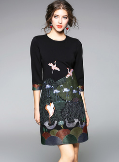 Black Crew Neck Embroidered Shift Dress