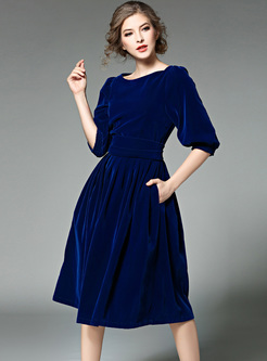 Velvet Lantern Sleeve Slim Skater Dress
