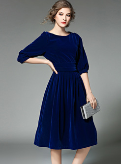 Blue Lantern Sleeve O-neck Skater Dress