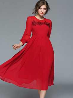 Red Lantern Sleeve Lace Embroidered Skater Dress