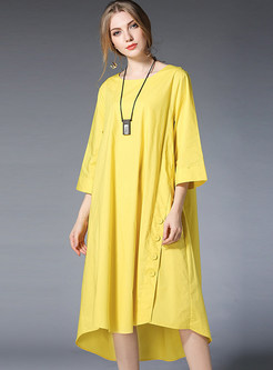 Yellow Casual Loose Asymmetric Hem Shift Dress