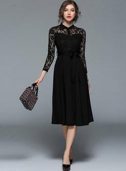 Black Lace Perspective Belted Splicing Skater Dress