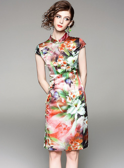 Chic Multicolor Print Improved Cheongsam Dress