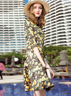 Flower Print Half Sleeve Shift Dress