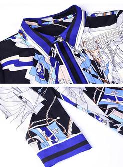 Ethnic Print Three Quarters Sleeve Shift Dress