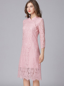 Pink Lace Stand Collar Cheongsam Dress