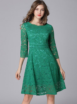 Green Lace Three Quarters Sleeve Skater Dress