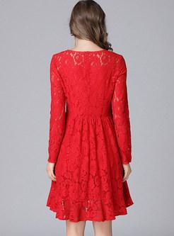 Red Lace Asymmetric Hem Skater Dress With Underskirt
