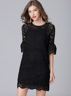 Black Hollow Out Flare Sleeve Shift Dress With Underskirt