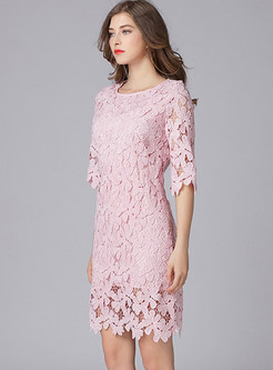 Pink Half Sleeve Lace Shift Dress