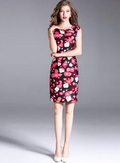 Floral Print Sleeveless Bodycon Dress
