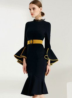 Chic Lotus Leaf Sleeve Belted Mermaid Dress