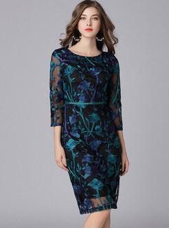 Elegant Embroidered See Through Bodycon Dress