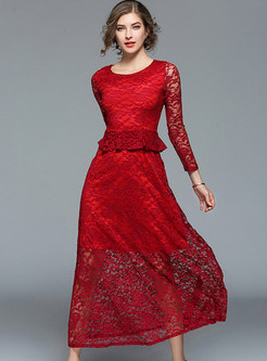 Wine Red Lace Splicing Maxi Dress