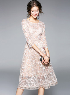 Apricot Lace Gathered Waist Three Quarters Sleeve Skater Dress