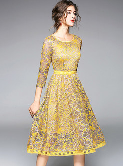 Yellow Elegant Lace Hollow Out Skater Dress