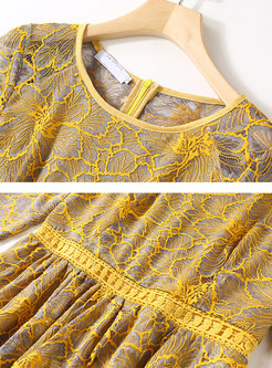 Yellow Lace Openwork Lace Skater Dress