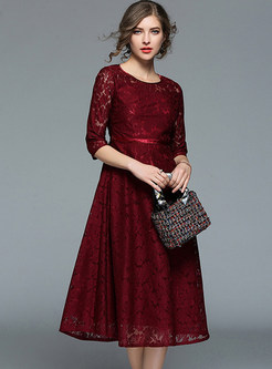 Wine Red Lace Gathered Waist Skater Dress