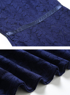 Vintage Lace Three Quarters Sleeve Skater Dress