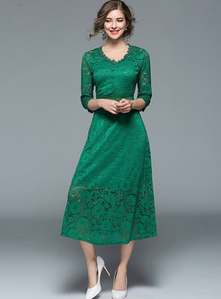 Green Lace Crochet V-neck Skater Dress