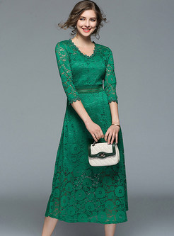 Green Lace Crochet V-neck Skater Dress