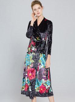 33ce85d9c0 Velvet Floral Print High Waist Skater Dress ...