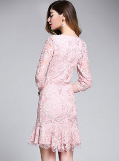 Pink Embroidered A-line Mermaid Dress