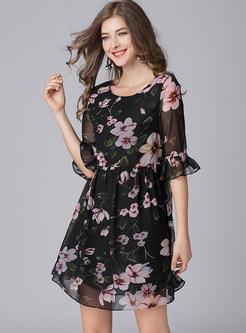 Flower Print Half Sleeve Chiffon Dress
