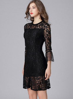 Lace See Through A-line Dress