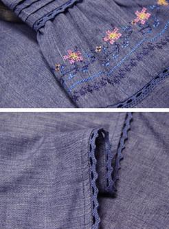Vintage Embroidery Flare Sleeve Skater Dress