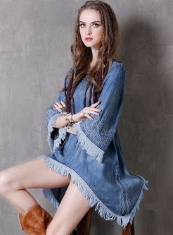 Chic Embroidery Tassel Asymmetric Denim Dress