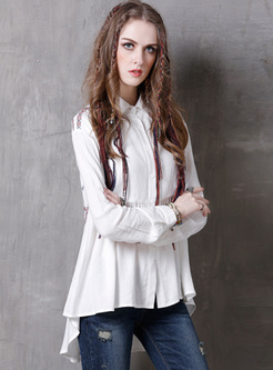 White Lapel Embroidered Asymmetric Blouse