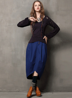 Hollow V-neck Slim Pullover Sweater