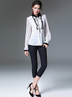 White Splicing Rough Selvedge Blouse
