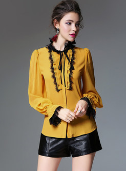 Yellow Elegant Lotus Leaf Sleeve Blouse