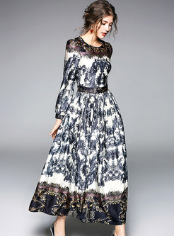 Vintage Ethnic Print Lantern Sleeve Maxi Dress
