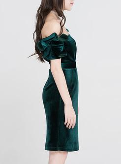Green Strapless Bodycon Dress