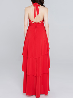 Red Falbala Neck Sleeve Layered Maxi Dress