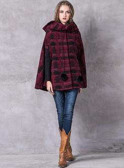 Vintage Plaid Hooded Caped Coat