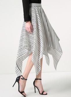 4d58ce033b8 ... Chic Striped Asymmetric A-line Skirt ...
