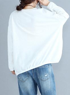 White Cotton Animal Pattern Sweatshirt