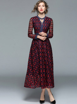Hollow Out V-neck Big Hem Lace Maxi Dress