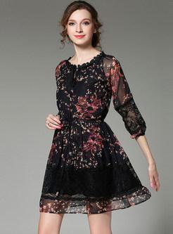 Chiffon Lace Stitching Floral Print Dress