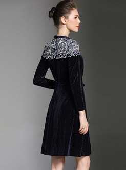 Vintage Velvet Lace Splicing A-line Dress